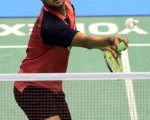 B. Sai Praneeth of India hits a return during his first round match against eighth-seeded Hu Yun of Hong Kong at the Japan Open 2013 badminton tournament in Tokyo on September 18, 2013. Hu won 23-21, 21-18.   AFP PHOTO / TOSHIFUMI KITAMURA        (Photo credit should read TOSHIFUMI KITAMURA/AFP/Getty Images)